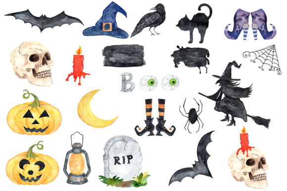 Halloween clipart, Watercolor Halloween clip art,Witches Hat,Witches shoes.