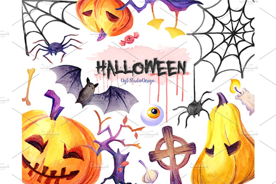 Watercolor Halloween clipart.