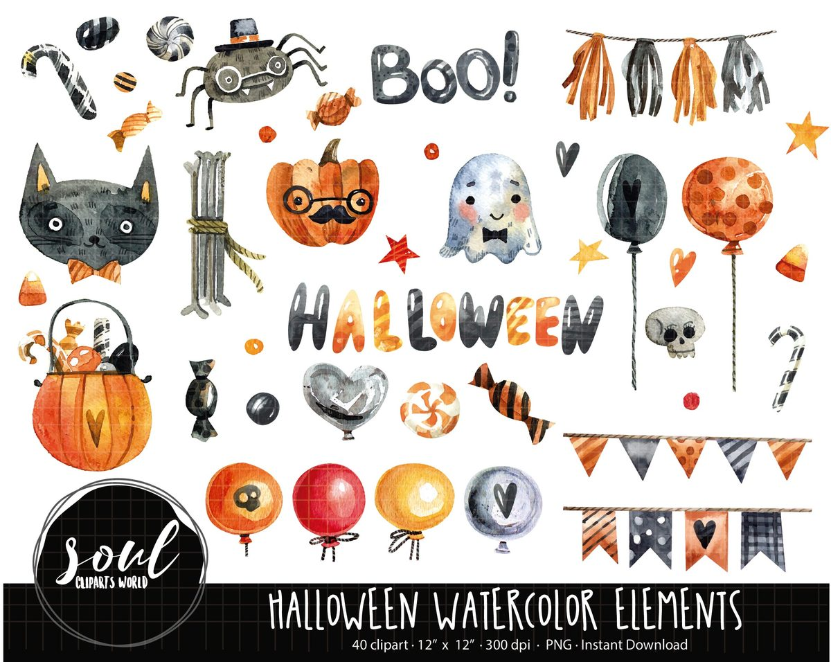 Halloween Watercolor at PaintingValley.com.