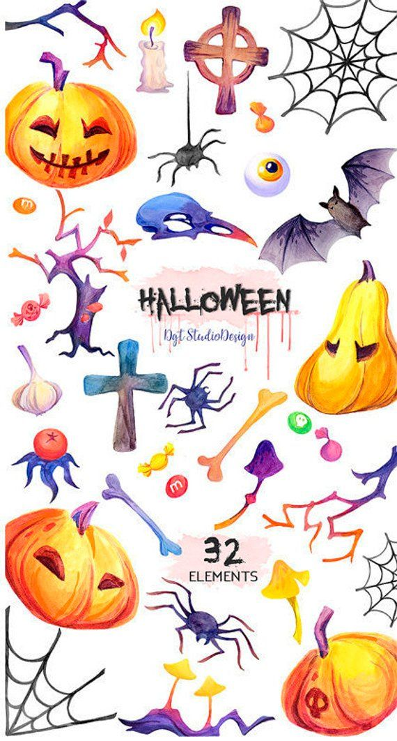 Watercolor Halloween clipart, pumpkin, skulls, bat, spider.