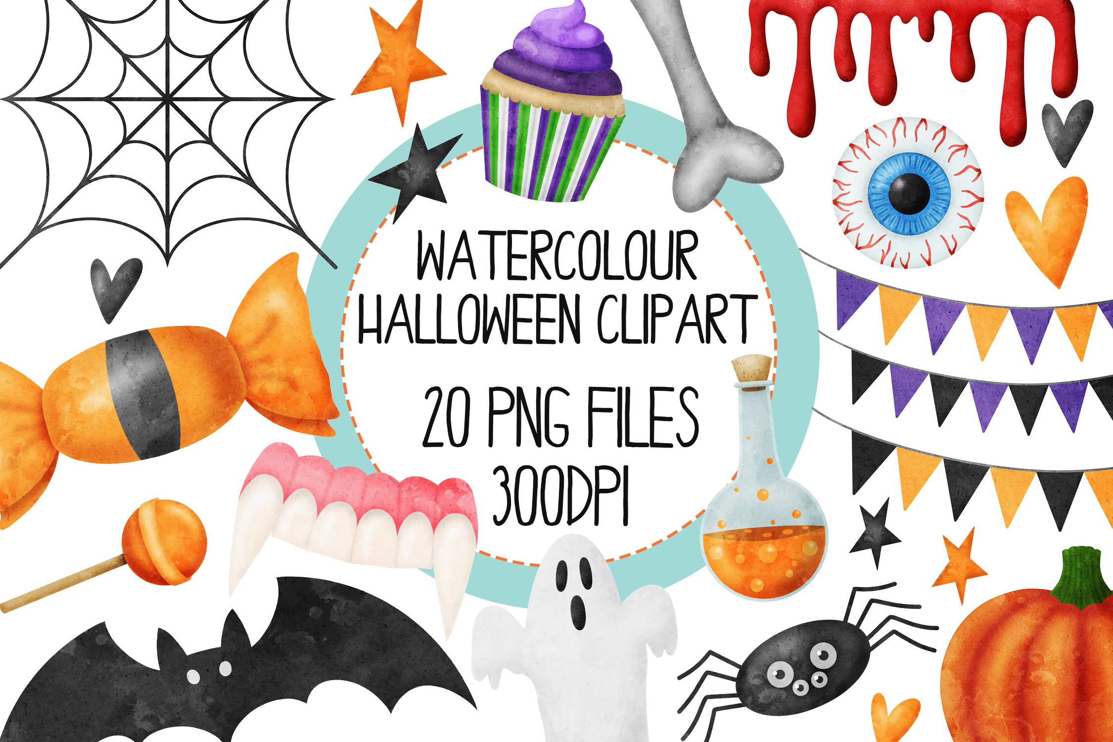 Watercolor Halloween Clip Art Set 1.