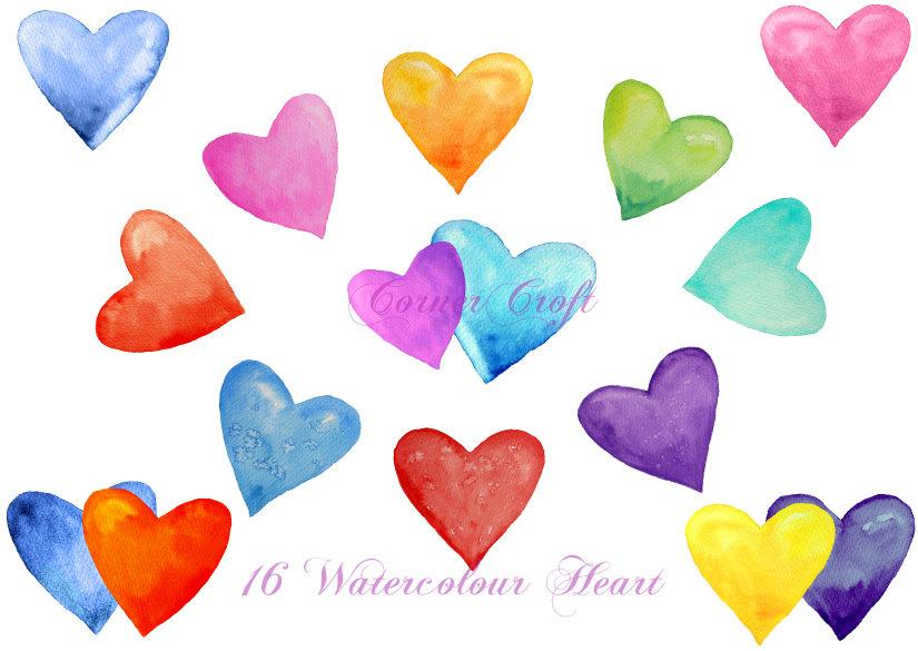 Watercolour hearts red, pink, blue, purple instant download, Valentine  Clipart.