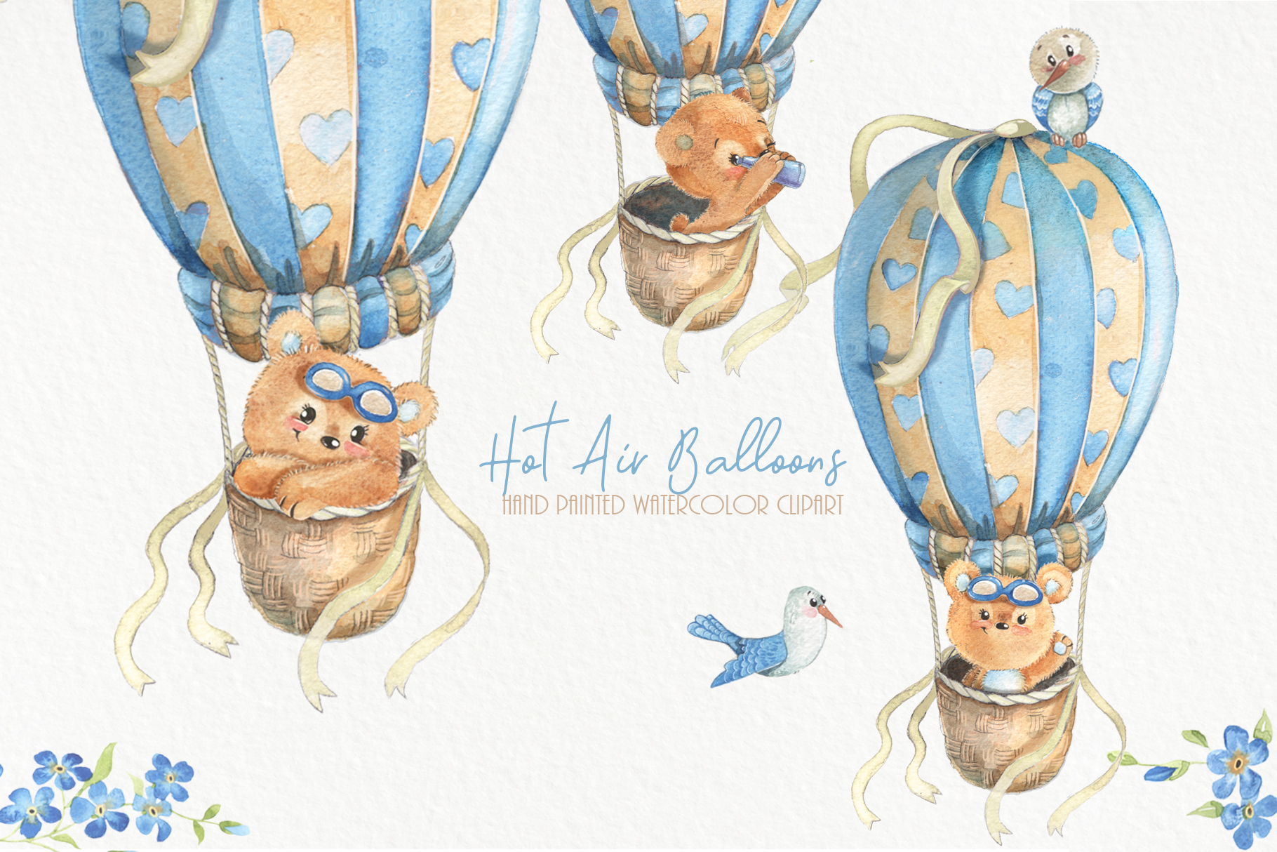 Hot air balloons clipart Cute watercolor bear clip art. Baby.