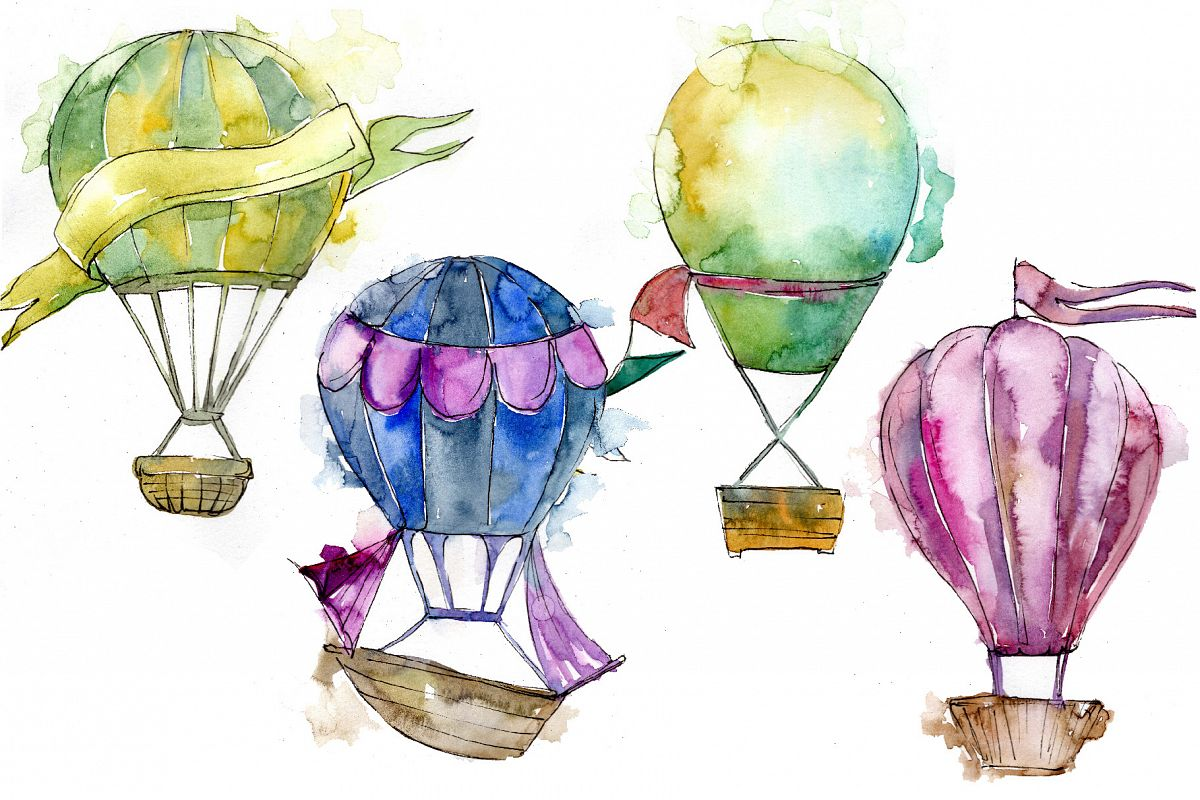Watercolor holiday hot air balloon PNG set.