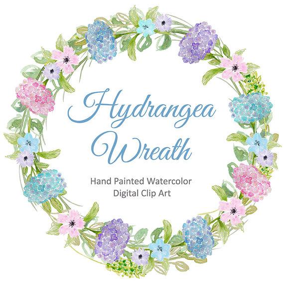 Watercolor Hydrangea flowers wreath watercolor flower.