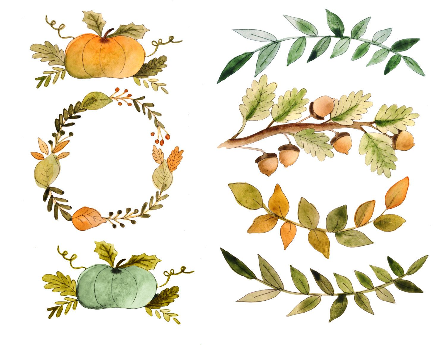 Fall clipart, watercolor fall clipart, pumpkin clipart, fall.