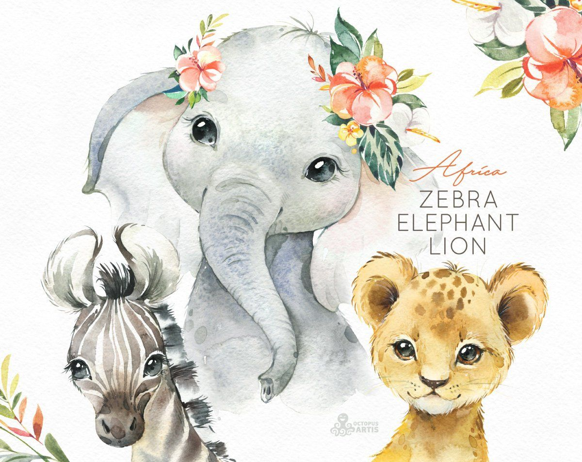 Africa Zebra Elephant Lion Watercolor little animals clipart.