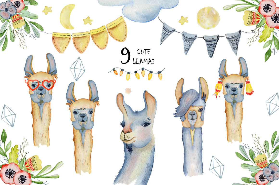 Watercolor llama clipart 7 » Clipart Station.