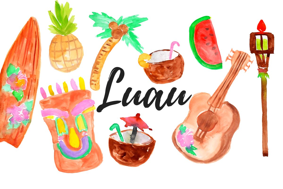 Watercolor Tropical luau clipart.