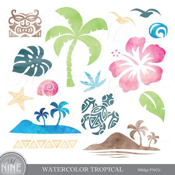 Watercolor TROPICAL Clipart / Watercolor LUAU Clip Art.