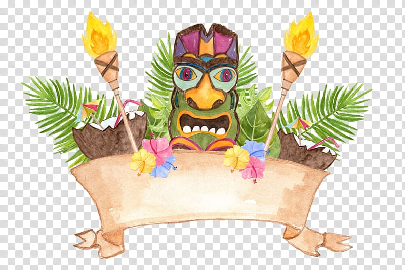 Hawaii Luau , Watercolor turtle transparent background PNG.