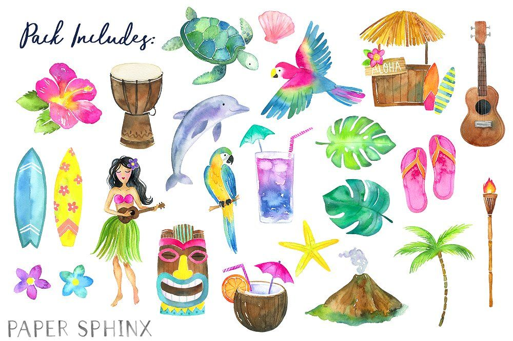 Watercolor Hawaii Clipart #art#wall#cards#greeting in 2019.