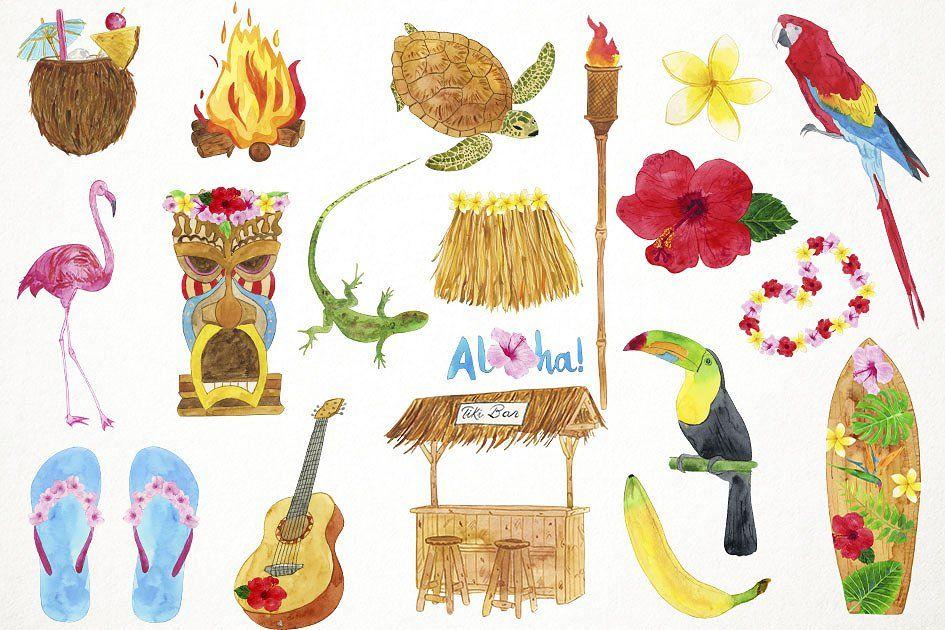 Watercolor Luau Clipart #turkey#leaves#Includes#cornucopia.