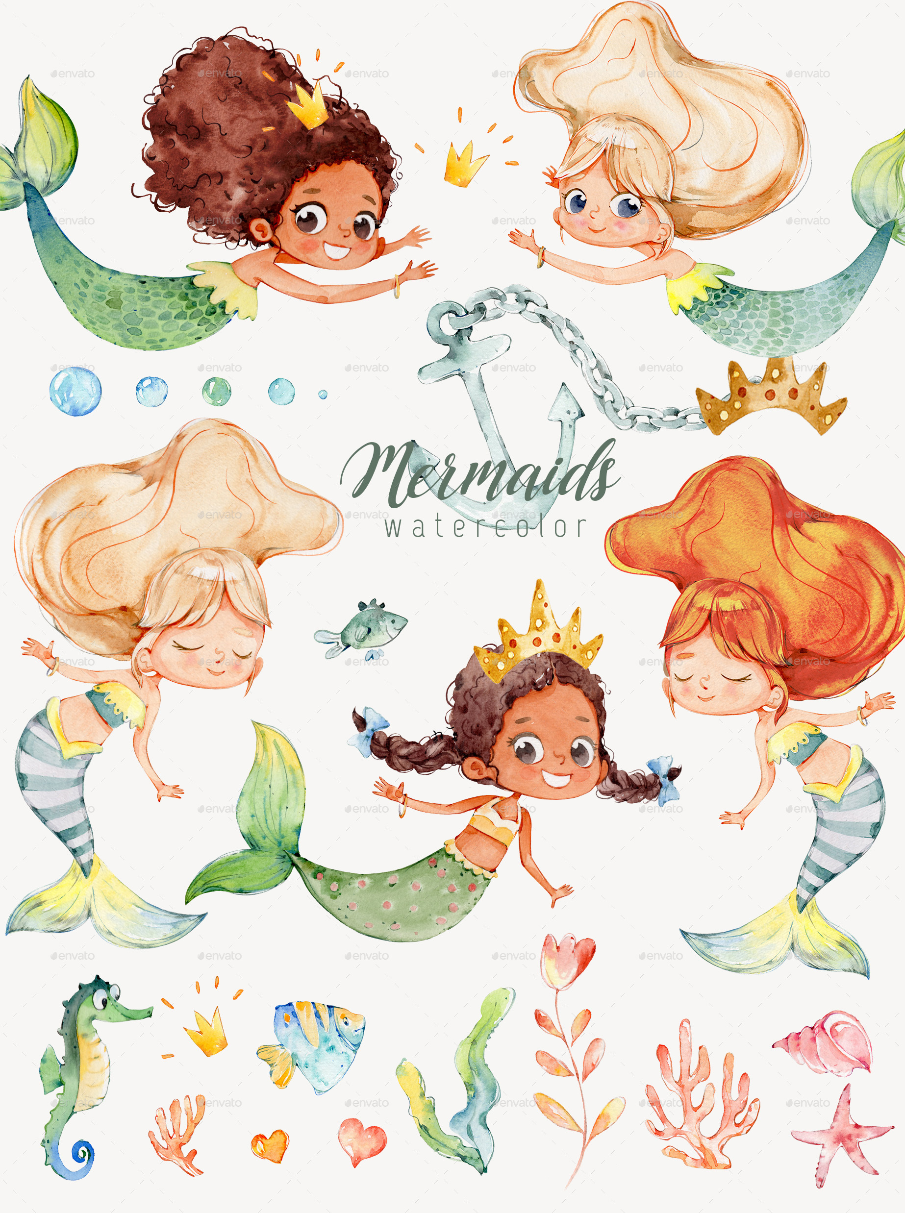 Watercolor Mermaids PNG.