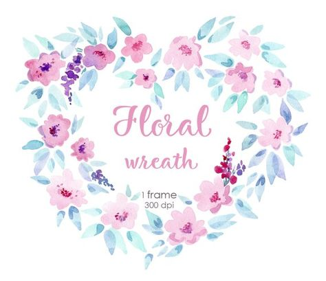 Watercolor floral wreath heart clipart.