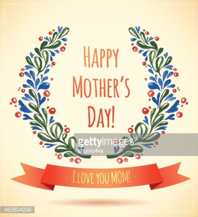 Watercolor Flower Wreath Happy Mother\'s Day Card! Clipart.
