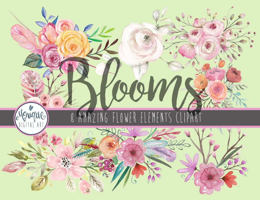 Watercolor flowers,clipart flowers,floral wreath,wedding.