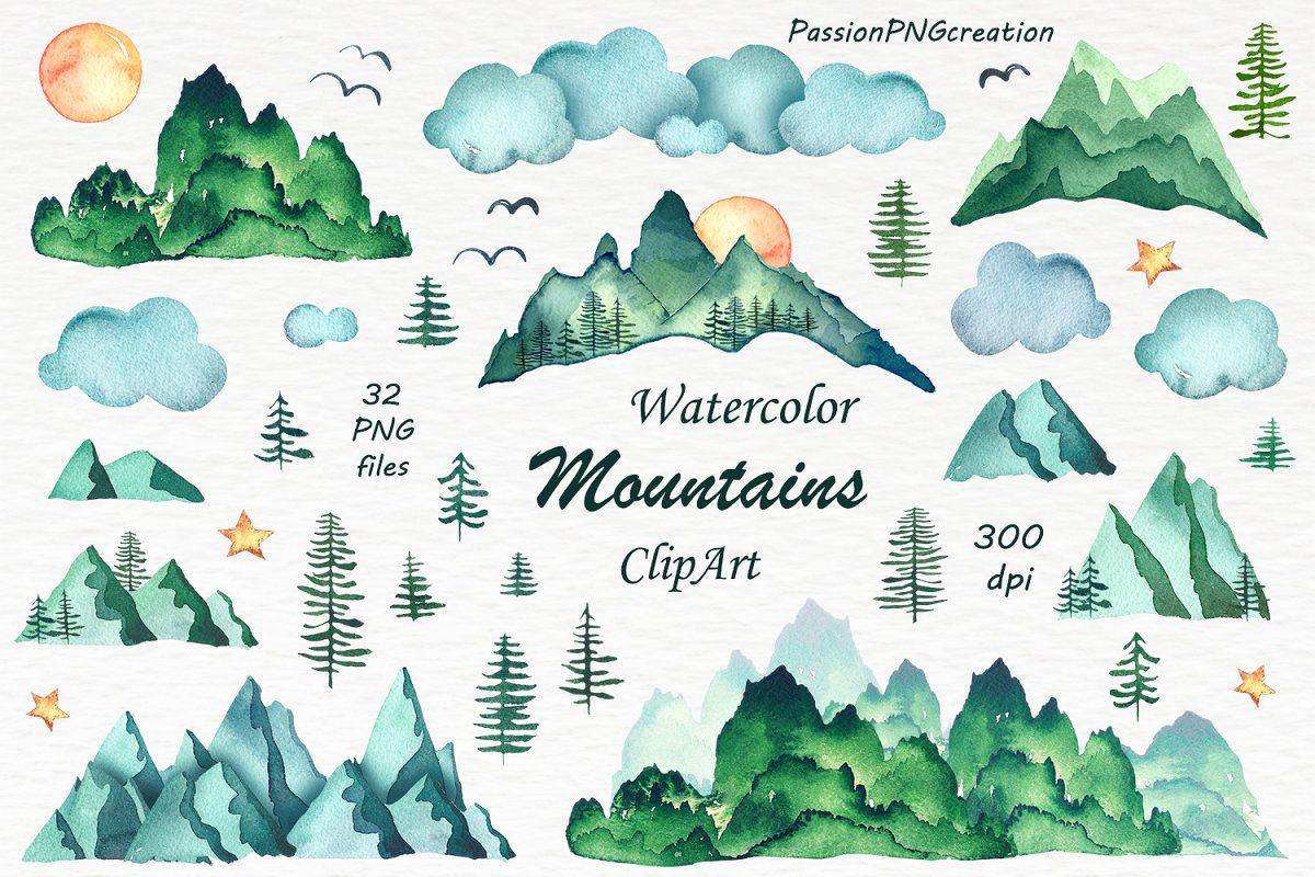 Watercolor Mountains Clipart.