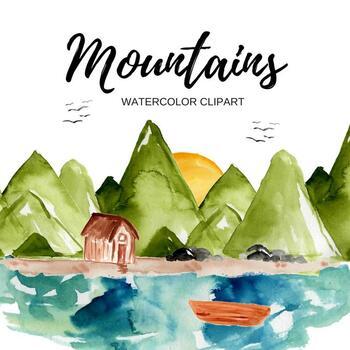 Watercolor Nature Mountain scene clipart.
