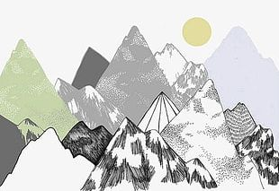 Watercolor Mountains PNG Images, Watercolor Mountains.