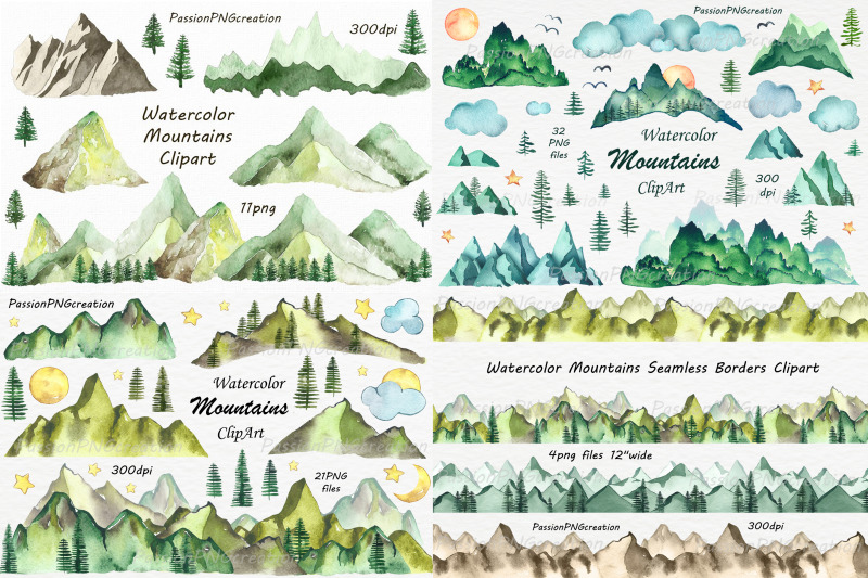 Big Set of Watercolor Mountains Clipart, PNG, Watercolour.