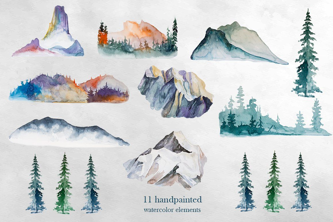 Watercolor Mountains Clipart by ArtCreationsDesign on.