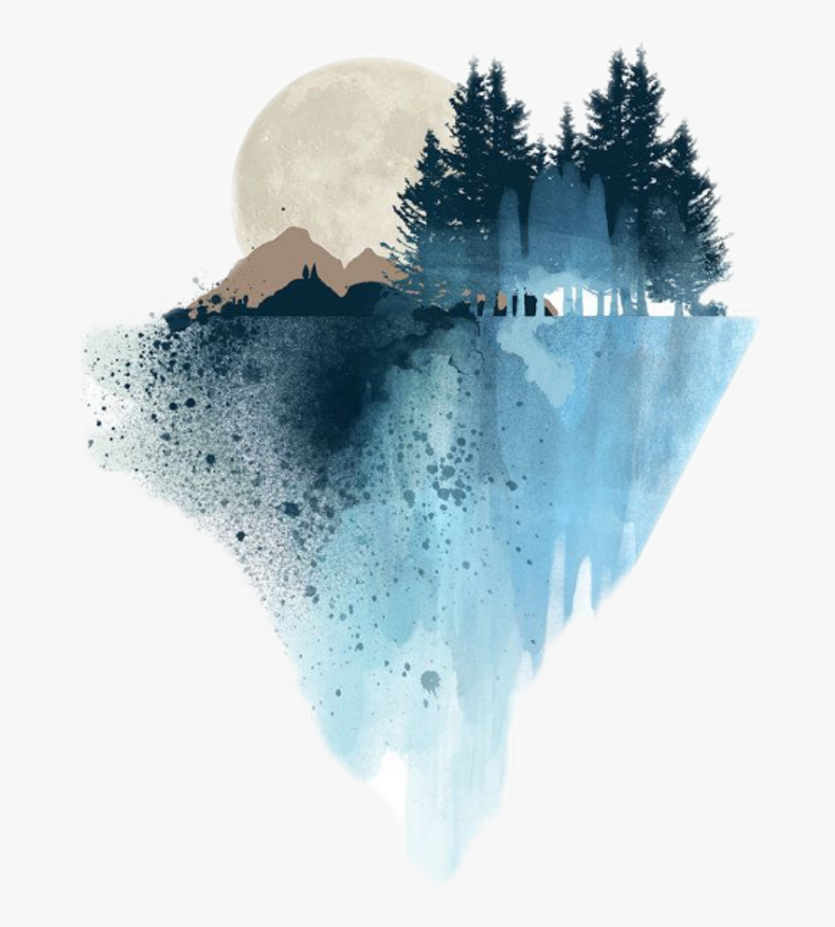 edits #watercolor #mountain #scenery #art #stickers.
