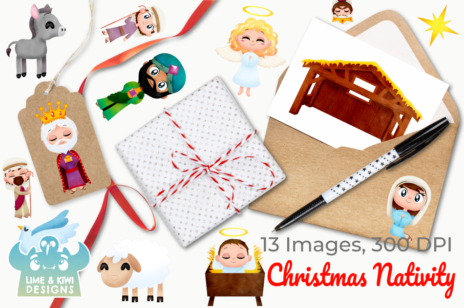 Christmas Nativity Watercolor Clipart, Instant Download By.