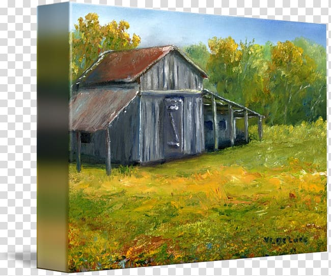 Oil painting Work of art Watercolor painting, old barn.