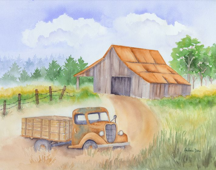 Old Truck & Barn Watercolor Painting.