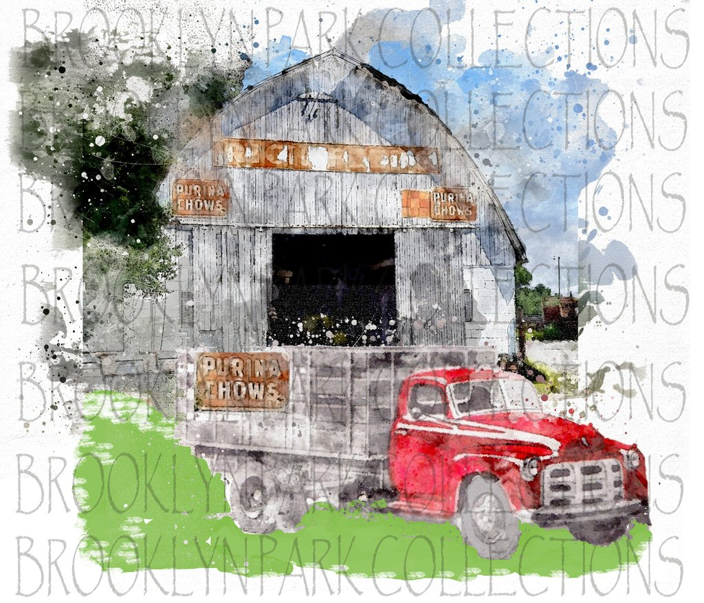 Purina Feed Signs Barn Old Farm Truck Watercolor Instant Download  Sublimation Art Print PNG Digital Farmhouse.