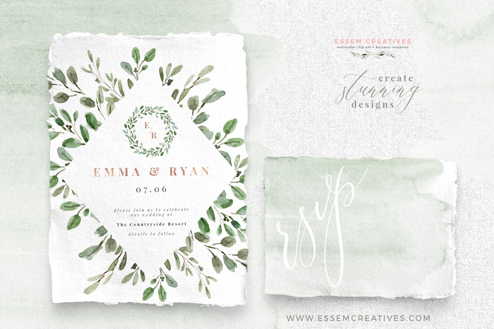 Watercolor Olive Branch Leaves Clipart, Rustic Laurel Wreath PNG.