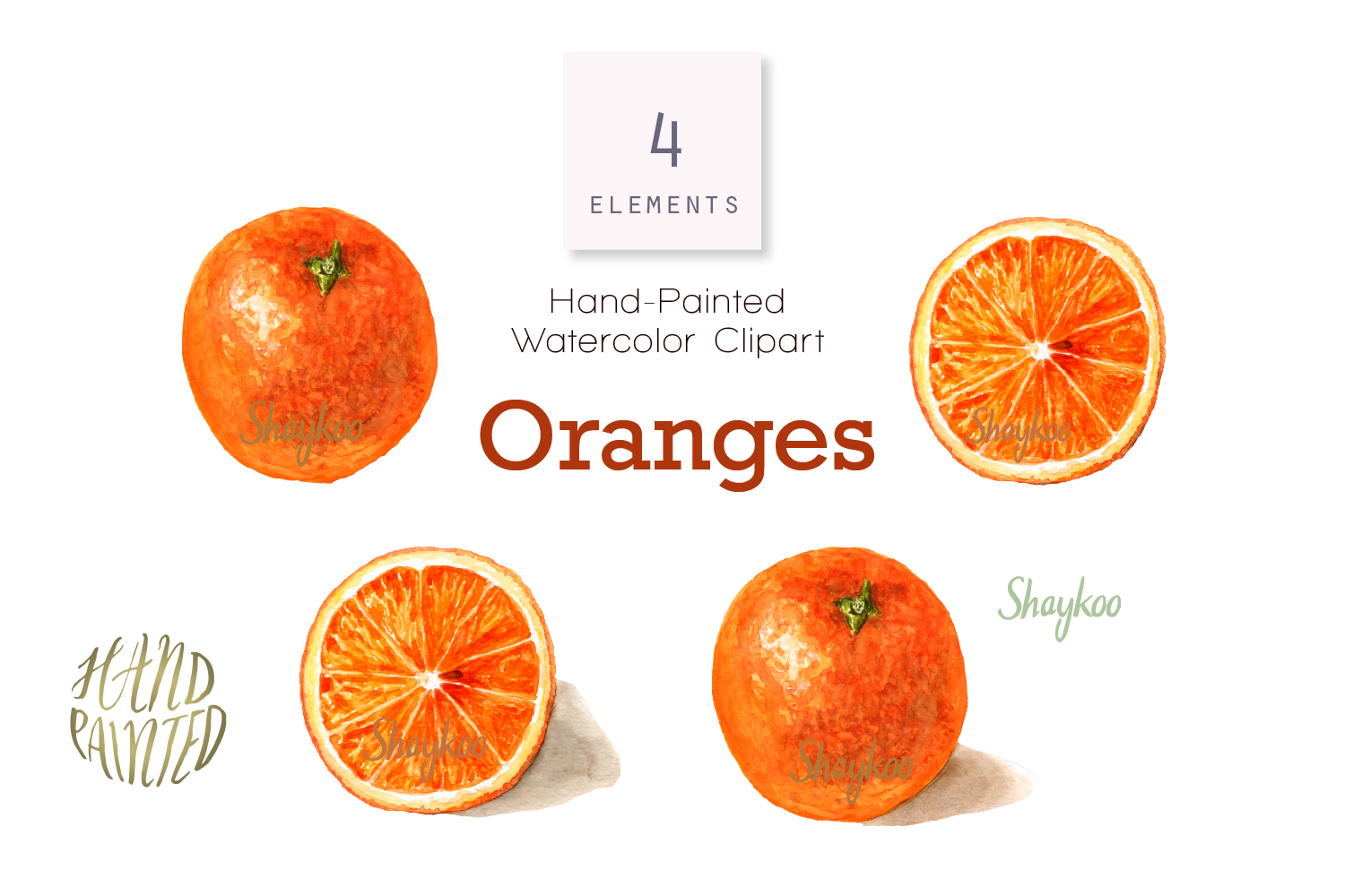 Orange Watercolor Clipart, Whole and Half Orange With Shadow.