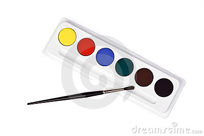 Watercolor Paint And Brush Stock Photography.