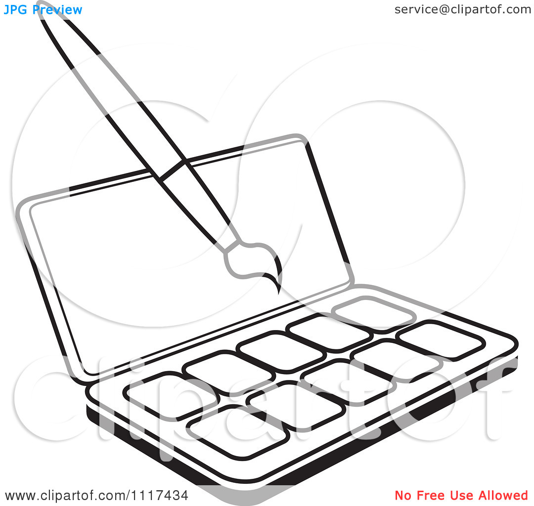 Clipart Of An Outlined Watercolor Paint Kit And Brush.