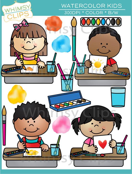 Watercolor Kids Clip Art , Images & Illustrations.