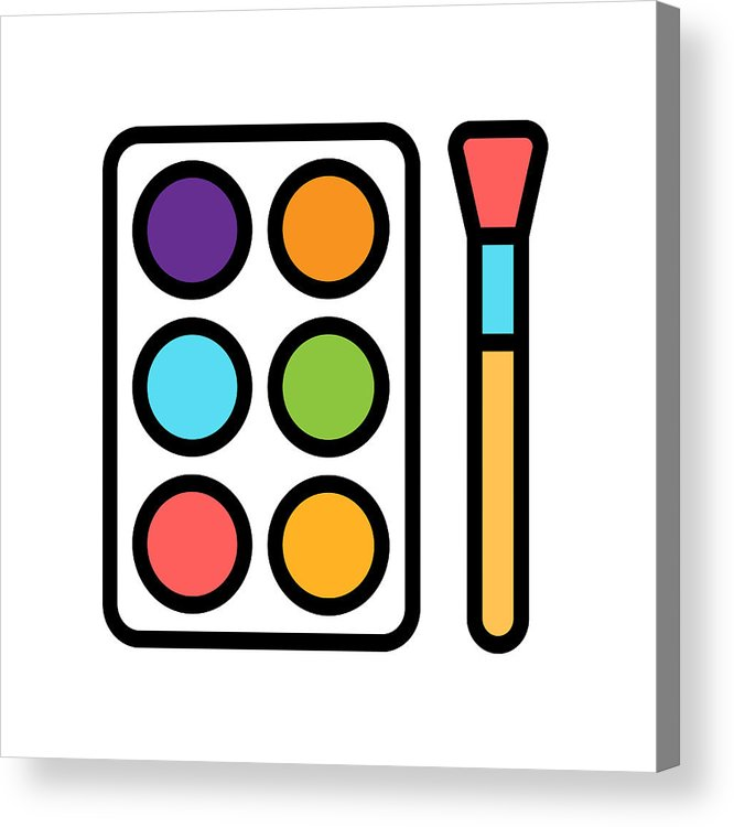Watercolor Palette With Brush Line Icon. Acrylic Print.
