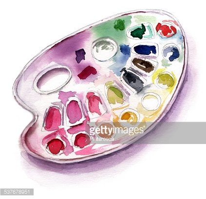 Watercolor drawing of palette on white background Clipart.