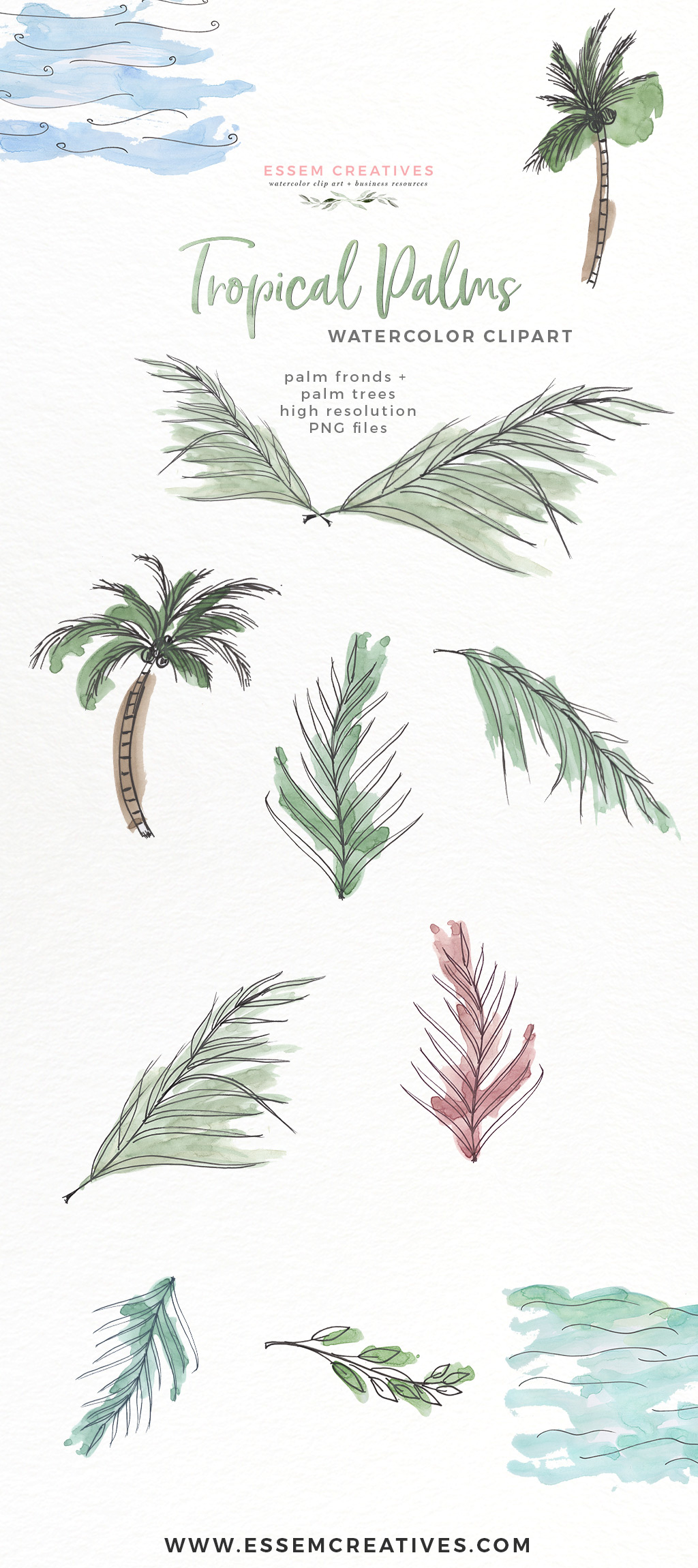 Tropical Palm Trees Fronds Leaf Print Greenery Clipart.
