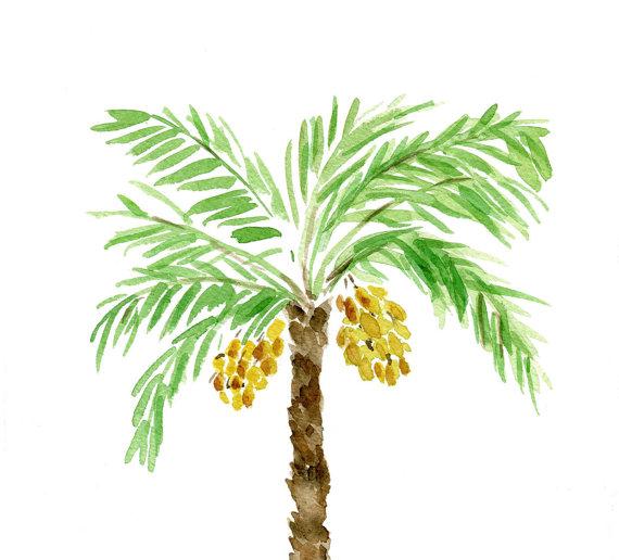 Palm Tree art print, palm tree watercolor print, Green.