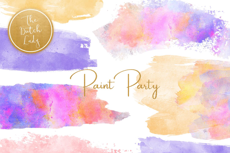 Watercolor Paint Party Clipart.