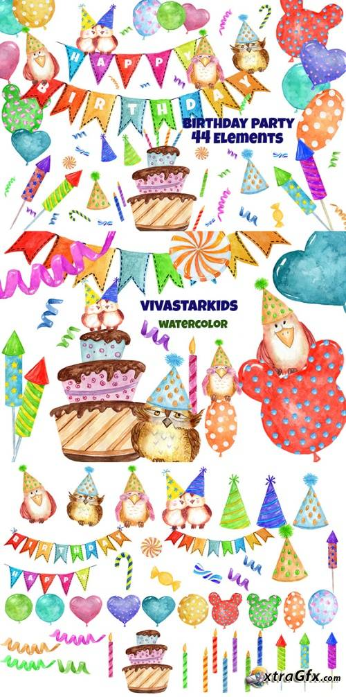 Watercolor Birthday Party Clipart 1157194 » xtraGFX Creating.
