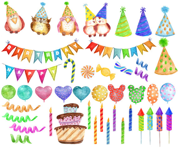 Watercolor Party Clipart: \