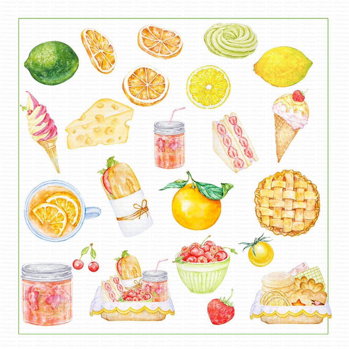 Food and Drink Clipart, Watercolor Fruits Clip Art, Fast.