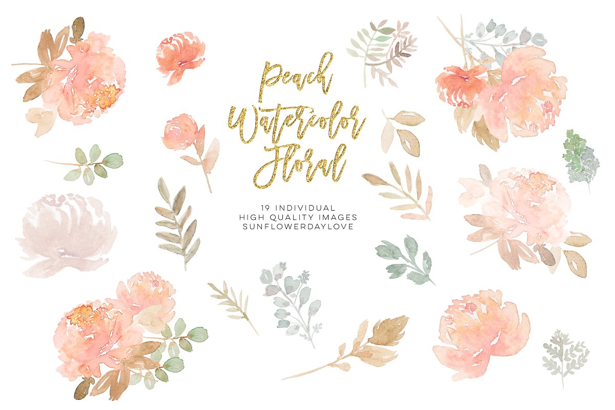 Watercolor Flower Peach Clipart.