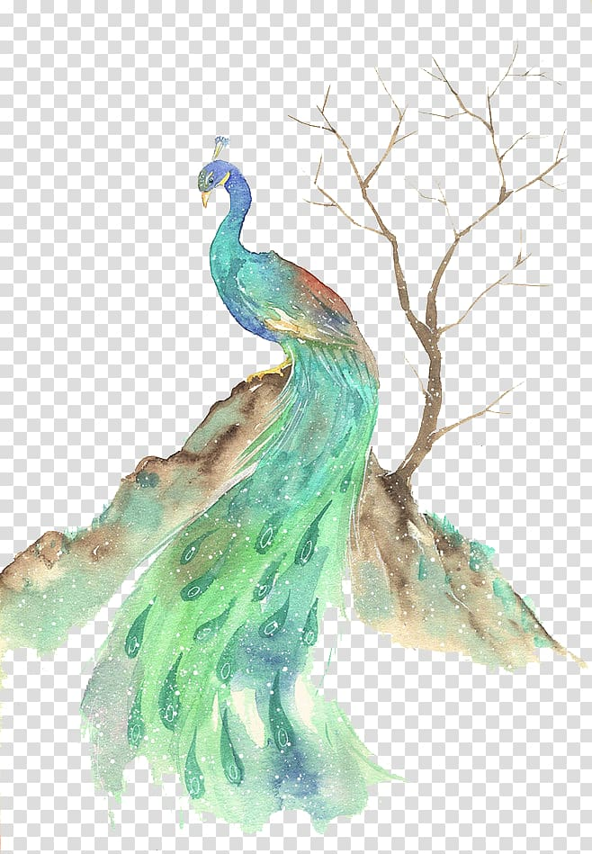 Green and blue peafowl, Bird Watercolor painting.