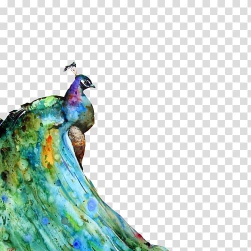 Watercolor painting Peafowl Canvas print Portrait, Ink.