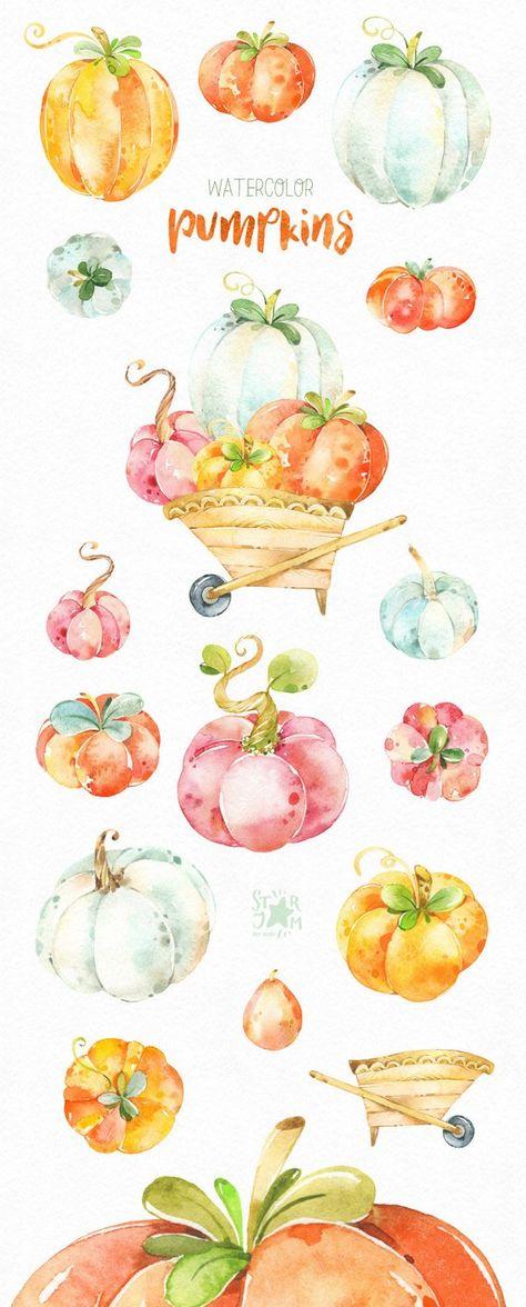 Watercolor Pumpkins. Fall clipart, halloween, thanksgiving.