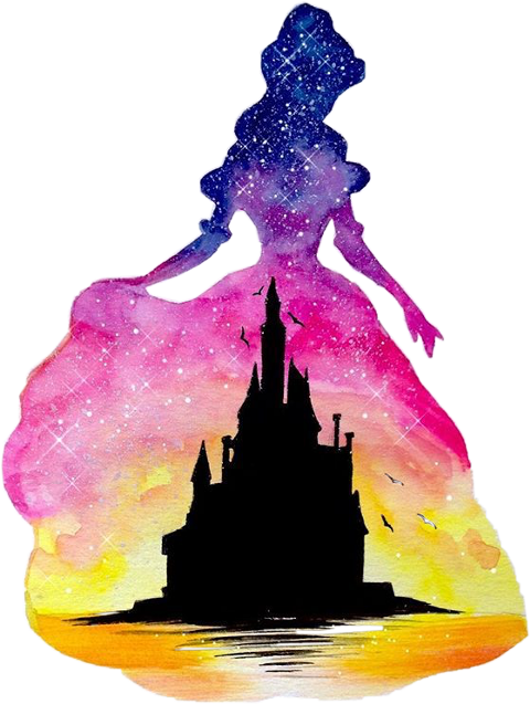 Aurora Belle Ariel Disney Princess Watercolor painting.