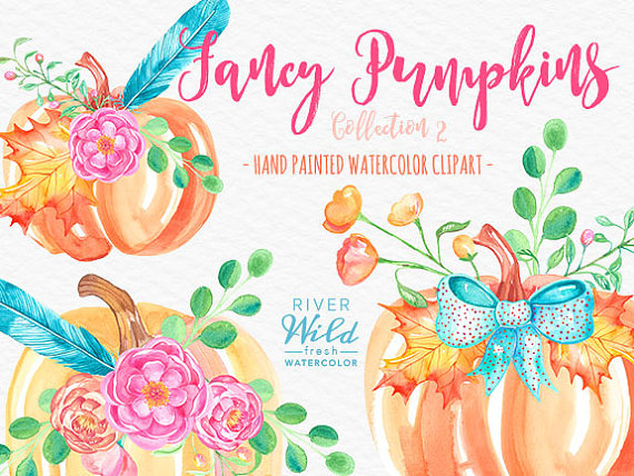 Watercolor Pumpkin Clipart, Autumn Fall Watercolor Trendy PNG.